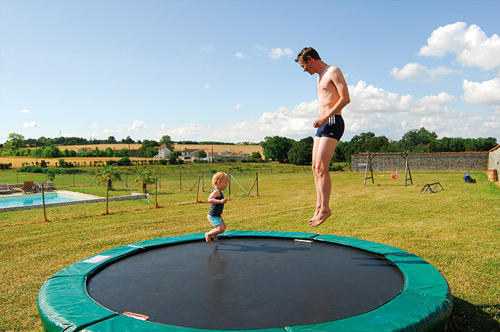 Trampoline and play area for children during your holidays